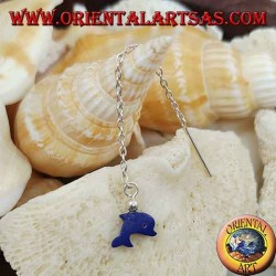 Silver chain earrings with 6 cm blue dolphin