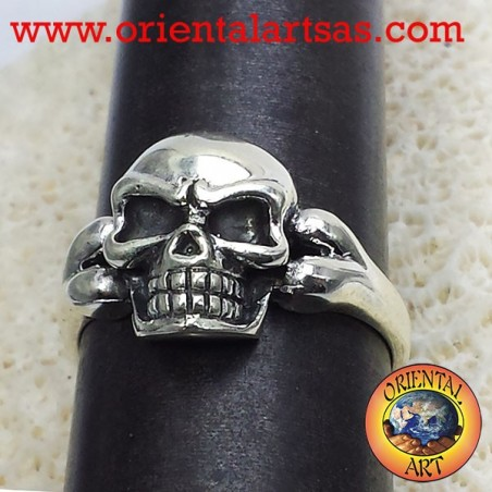 Skull ring with bone, 925 silver