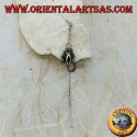 Silver chain earrings with 7 cm onyx scorpion