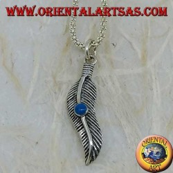 Wavy feather silver pendant with turquoise stone (symbol of purification)