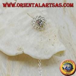 Orecchini in argento a catenina margherita con strass bianco da 8 cm