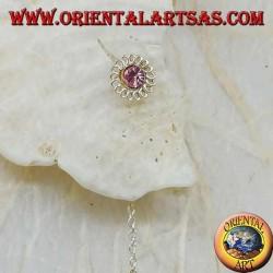 Boucles d'oreilles marguerite en argent avec strass roses 8 cm