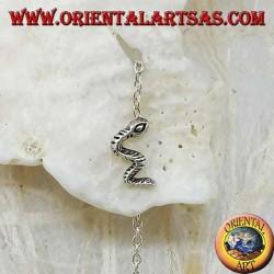 Boucles d'oreilles chaîne en argent avec serpent 6 cm