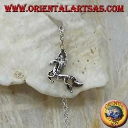 Boucles d'oreilles chaîne en argent avec cheval ailé 10 cm