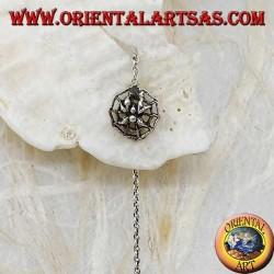 Pendientes de plata con cadena de araña en una telaraña de 10 cm
