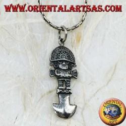 Silver pendant in the shape of Tumi (Inca knife, pre-Columbian civilization)