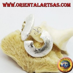 Wide hoop silver earrings with butterfly closure