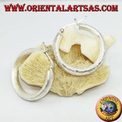 Wide hoop silver earrings with 30 mm lever closure
