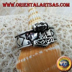 Silver ring band with engraved Nordic runes and Thor's hammer in relief
