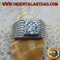 Silver ring with nine white zircons