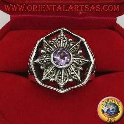 Anello in argento rosa dei venti con ametista tonda naturale contornata da marcassite