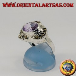 Natural oval horizontal amethyst silver ring surrounded by marcasite
