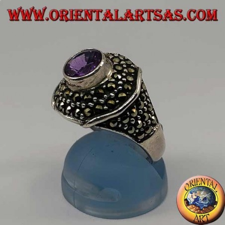 Octagonal silver ring with round natural amethyst studded with marcasite
