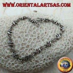 Silver bracelet with 13 elephants in a row (medium)