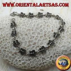 Soft silver bracelet with 15 butterflies