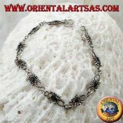 Мягкий серебряный браслет с 10 скорпионами с ониксом