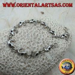 Bracciale in argento morbido con 10 delfini con onice