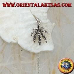 Silver chain earrings with 16 cm marijuana leaf