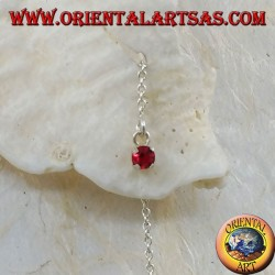 Orecchini in argento a catenina con zircone rosso incastonato da 15 cm