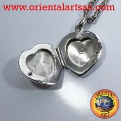 Ciondolo Portafoto cuore con zircone in argento