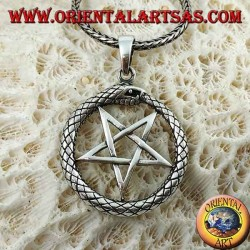 Silver pendant, Ouroboros with pentacle (pointing downwards)