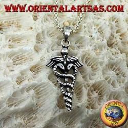 Ciondolo in argento il caduceo (Verga alata con due serpenti attorcigliati), piccolo