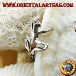 Silver ear cuff earring, frog