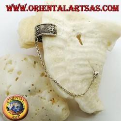 Orecchino Ear Cuff in argento con catenella, sole con faccina in altorilievo