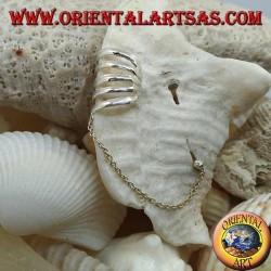 Orecchino Ear Cuff in argento con catenella, ad anelli lisci