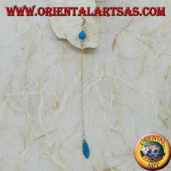 Boucles d'oreilles papillon en argent avec chaîne, plume et boule turquoise de 7 cm