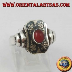 Silver flower paper ring with oval carnelian and niello decoration