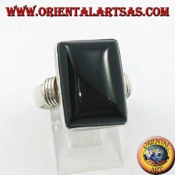 Silver ring with rectangular onyx and three rows on the sides