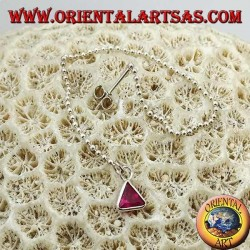 Silver butterfly earrings with ball chain and 11 cm triangular magenta zircon