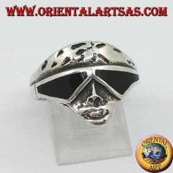 Silver ring in the shape of a biker face with sunglasses with onyx lenses