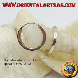 Silberohrring, glatter Kreis mit 12 mm quadratischem Querschnitt