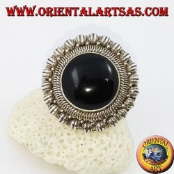 Large daisy silver ring with round cabochon onyx