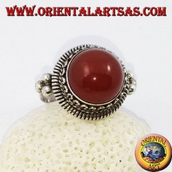 Silver ring with raised round carnelian and stripes and continuous serpentine on the sides (17)