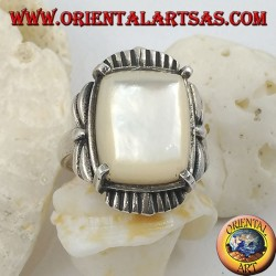 Silver ring with beveled rectangular mother of pearl set on a striped frame