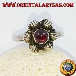 6-petal silver flower ring with cabochon round garnet