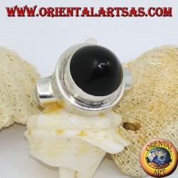 Silver ring with conical onyx