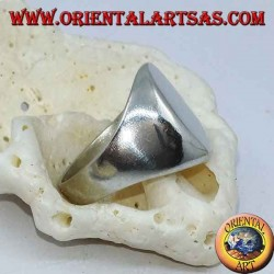 Flat oval chevalier silver ring (10 * 13mm)