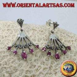 Fan-shaped silver earrings with five natural oval rubies on the tips alternated with marcasite