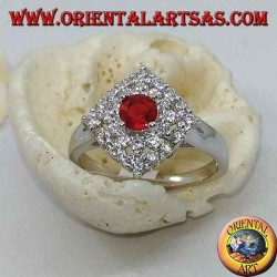 Silver ring with synthetic round ruby set surrounded by rhombus zirocones