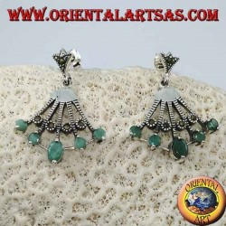 Fan-shaped silver earrings with 5 natural oval emeralds on the tips alternated with marcasite