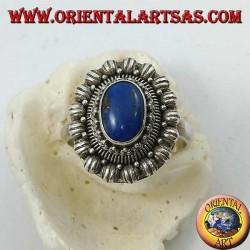 Bague fleur en argent avec cabochon ovale lapis lazuli