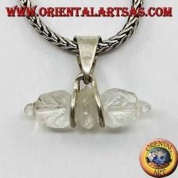 Pendentif en cristal de roche Dorje avec crochet en argent à 2 fils (petit)