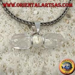 Pendentif Dorje en cristal de roche avec crochet en argent à 2 fils (long)