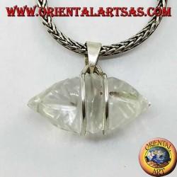 Pendentif en cristal de roche Dorje avec crochet en argent à 2 fils (épais)