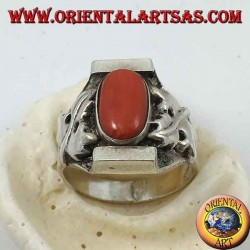 Silver ring with antique Tibetan oval coral and Nepalese setting with bay leaves on the sides
