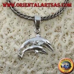 Silberanhänger Paar springender Delfine (Mutter und Sohn)